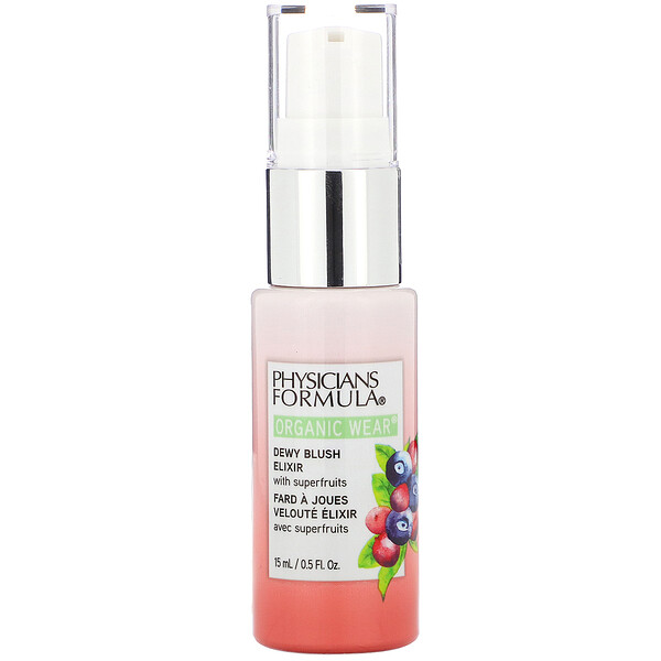 Physicians Formula, Organic Wear, Dewy Blush Elixir, Apricot Glow,  0.5 fl oz (15 ml)