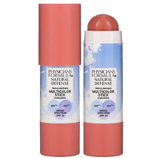Physicians Formula, естественная защита, цветной солнцезащитный стик, SPF20, естественный розовый, 7,4г (0,26унции)