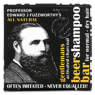 Professor Fuzzworthy's, Gentlemans Beer 洗發皁,活性炭,適合中性 - 乾性發質,薄荷迷迭香,4.2 盎司(120 克)