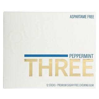 The PUR Company, Peppermint Three, Sugar Free Gum, 12 Sticks