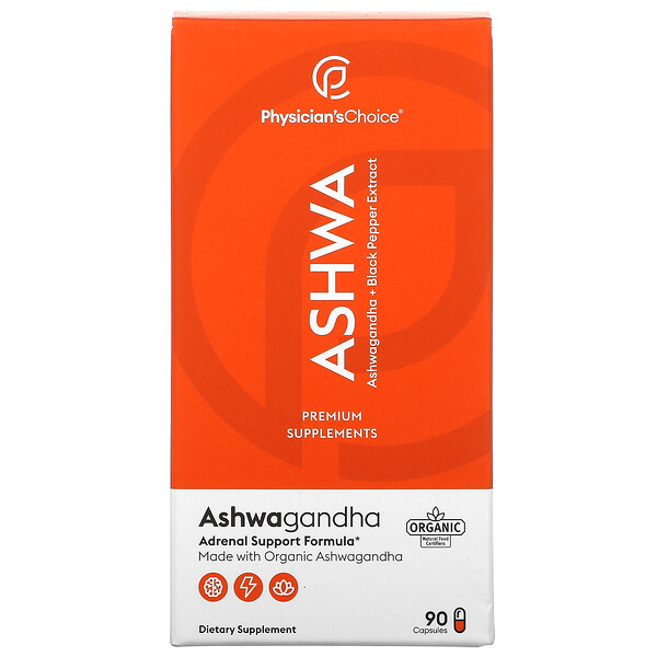 Ashwa, Ashwagandha + Black Pepper Extract, 90 Capsules