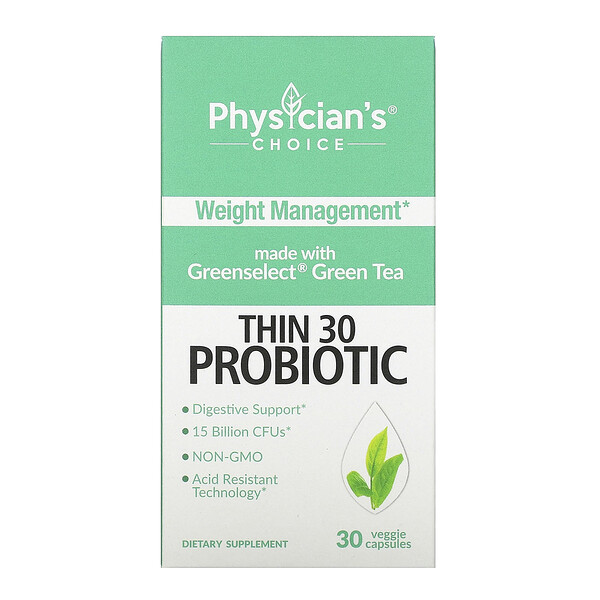 Thin 30 Probiotic, 15 Billion CFUs, 30 Veggie Capsules