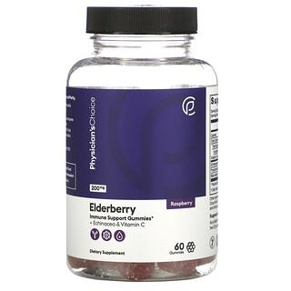 Physician's Choice, Elderberry + Echinacea & Vitamin C, Raspberry, 200 mg, 60 Gummies