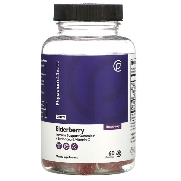 Elderberry + Echinacea & Vitamin C, Raspberry, 200 mg, 60 Gummies