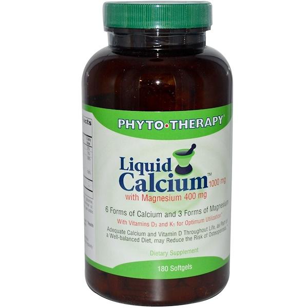 Phyto Therapy Inc、, 液體鈣鎂,鈣1000毫克鎂400毫克, 180粒
