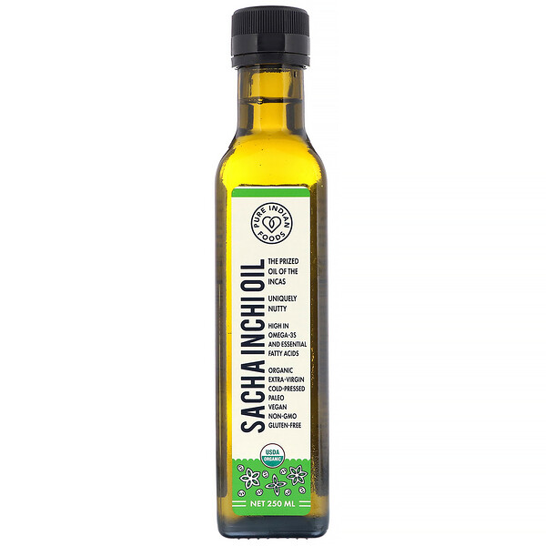 Pure Indian Foods, Organic Cold Pressed Extra-Virgin Sacha Inchi Oil, 250 ml