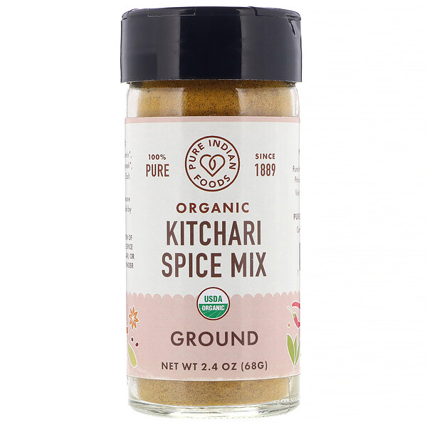 Pure Indian Foods, Organic Kitchari Spice Mix, mezcla orgánica de especias para kitchari, molidas, 68 g (2,4 oz.) (Discontinued Item)