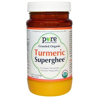 Pure Indian Foods Grass-Fed Organic, Turmeric Superghee, 7.5 oz (212 g)