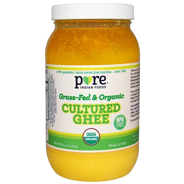 Pure Indian Foods, Cultured Ghee, Grass-Fed & Organic, 15 oz (425 g)