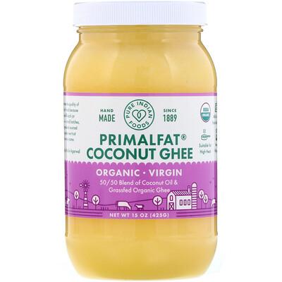 PrimalFat, органическое кокосовое масло и масло гхи холодного отжима, 425г (15унций) кокосовое масло холодного отжима мини 100 мл