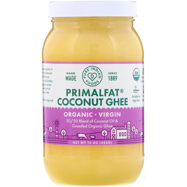 Pure Indian Foods, Organic & Virgin PrimalFat Coconut Ghee, 15 oz (425 g)