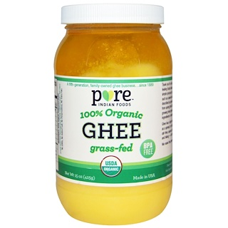 Pure Indian Foods, 100% Organic Grass-Fed Ghee, 15 oz (425 g)
