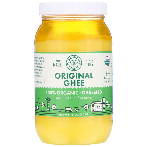 Pure Indian Foods, Ghee original de animales criados a pastura 100 % orgánico, 425 g (15 oz)