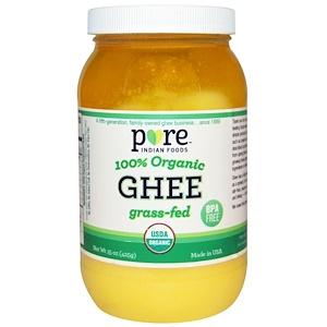 Pure Indian Foods, ギー、100%オーガニック、グラスフェッド、15 oz (425 g)