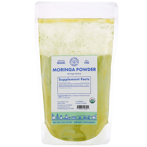 Pure Indian Foods, Pó de Moringa Orgânico, 227 g (8 oz)