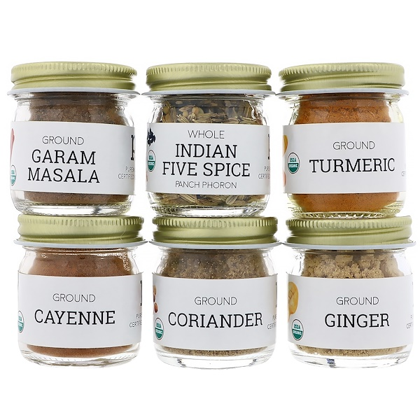 Pure Indian Foods, Organic Indian Spice Starter Kit, Experience Level: Beginner, Variety Pack, 6 Seasonings