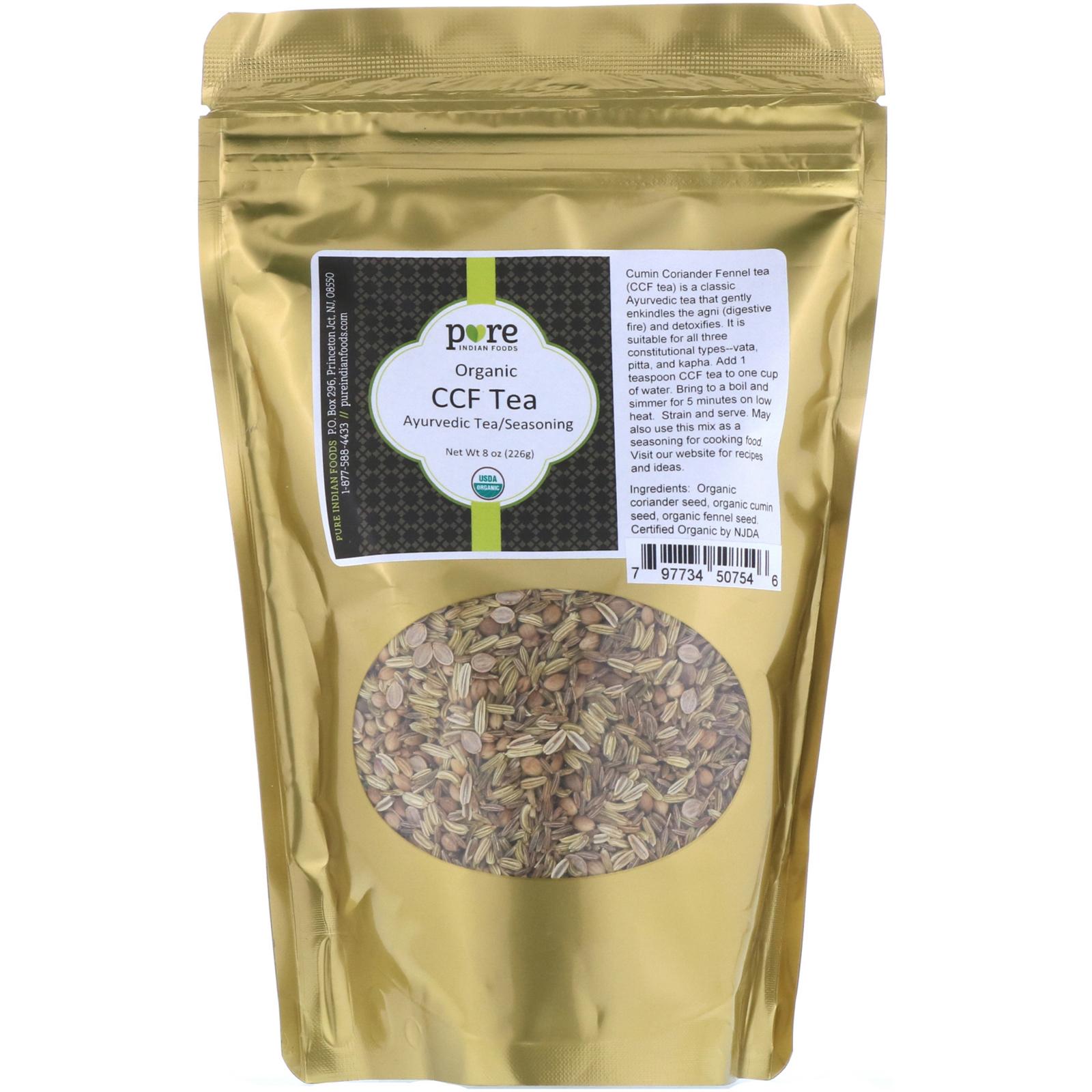 Pure Indian Foods, Organic CCF Tea, Ayurvedic Tea/Seasoning, 8 oz (226 g)