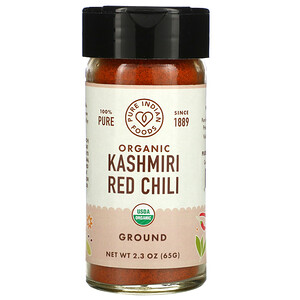Pure Indian Foods, 100% Pure, Organic Kashmiri Red Chili, Ground, 2.3 oz (65 g)