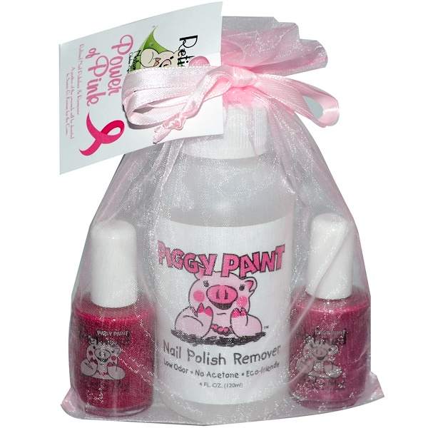 Piggy Paint, Refined, Power of Pink, Nail Polishes & Remover Gift Set, 3 Pieces (Discontinued Item)