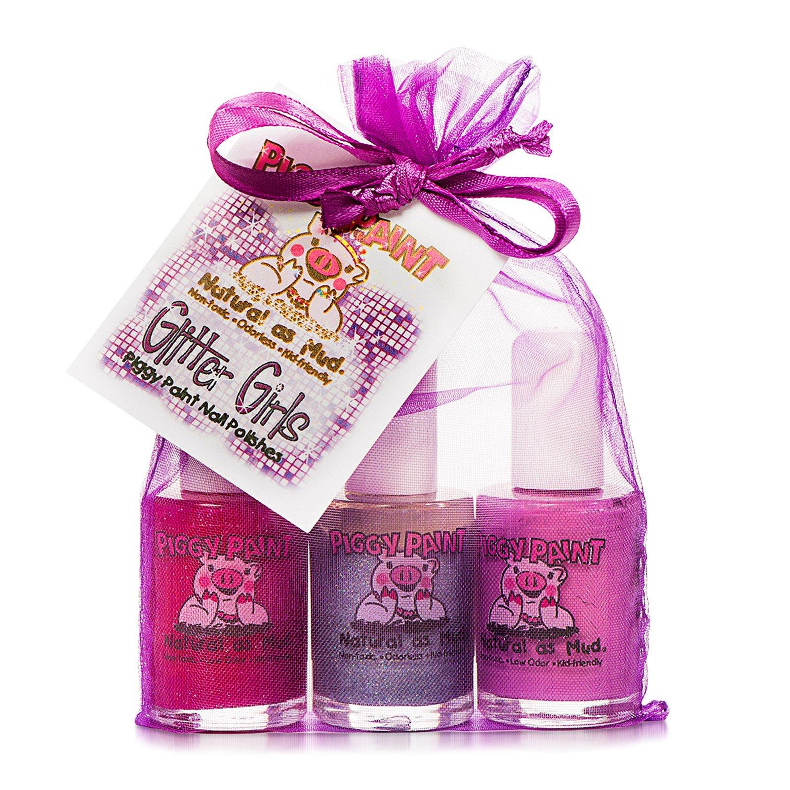Piggy Paint, Лаки для ногтей, подарочный набор Glitter Girls, 3 флакона, 0,5 жидкой унции (15 мл) каждый