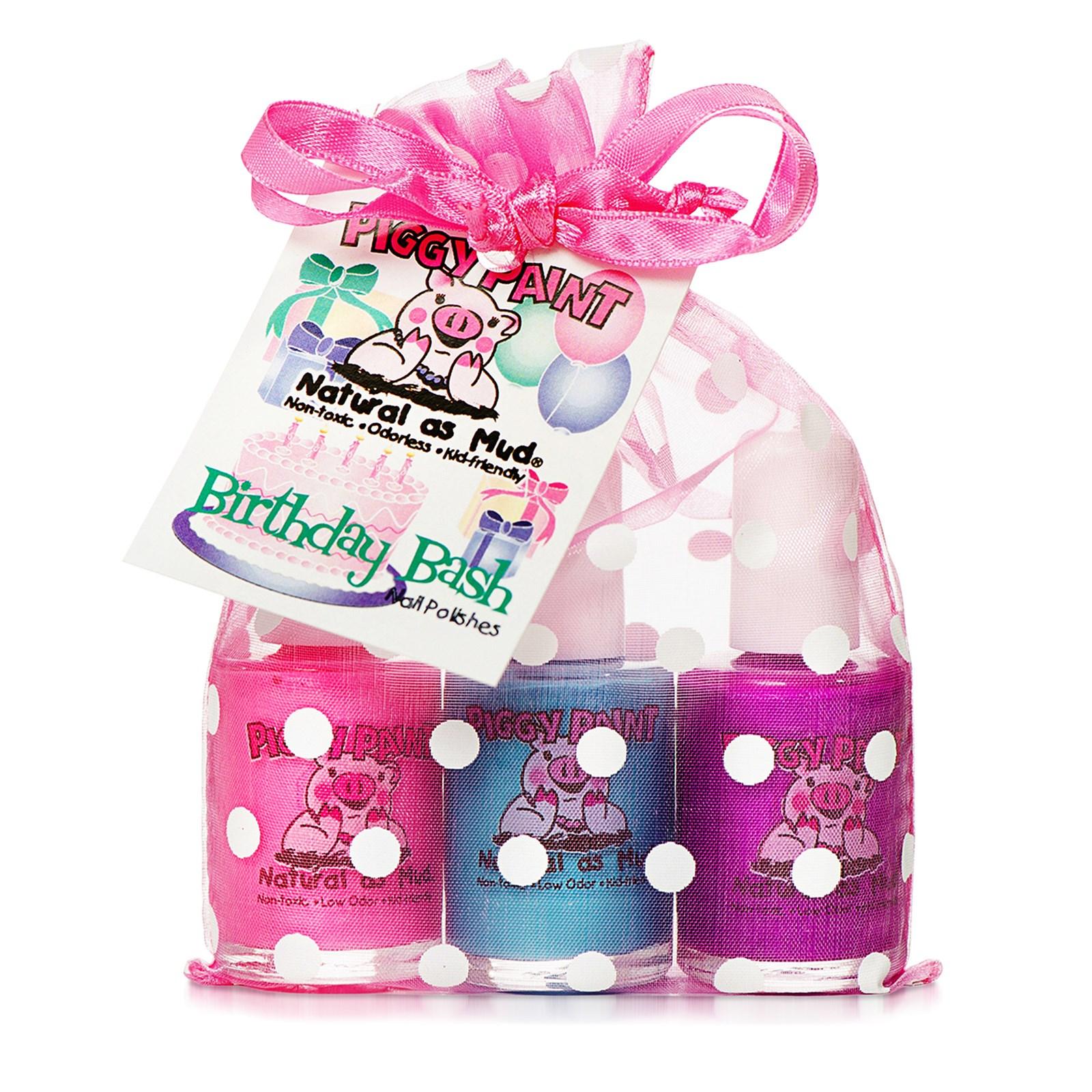 Piggy Paint, Нетоксичные лаки для ногтей, натуральные как грязь, на день рождения, 3 флакончика, 0,5 жидких унций (15 мл) каждый