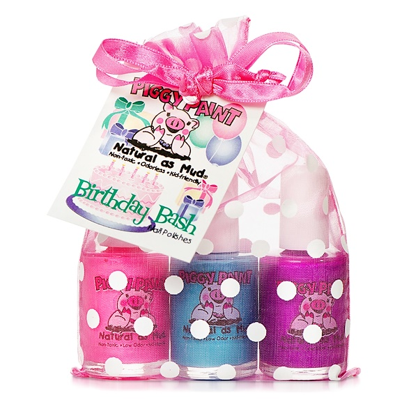 Piggy Paint, Non-Toxic Nail Polishes, Natural as Mud, Birthday Bash, 3 Bottles, 0.5 fl oz (15 ml) Each (Discontinued Item)