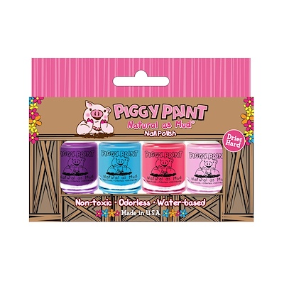 Piggy Paint 自然如泥,指甲油,4件套,(3.5毫升)每個