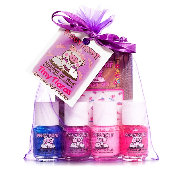 Piggy Paint, Nail Polish, Tiny Tiaras, Gift Set, 4 Bottles, 0.25 fl oz (7.4 ml) Each (Discontinued Item)
