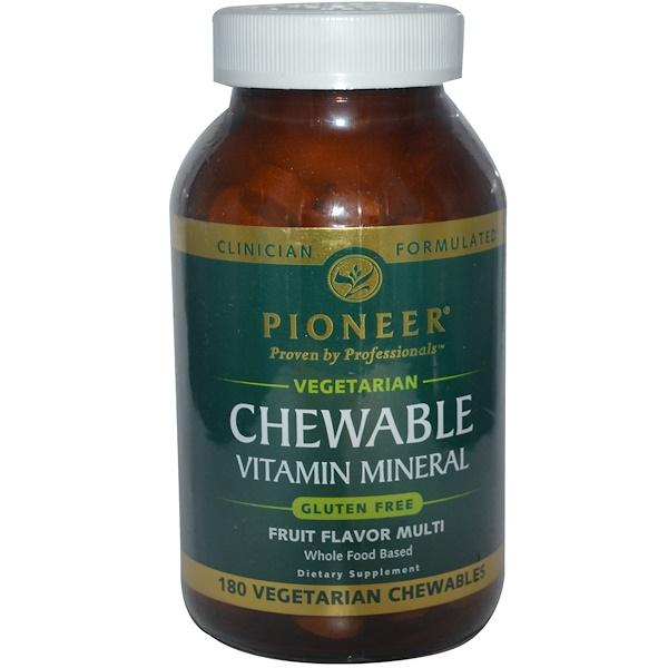 Pioneer Nutritional Formulas, Chewable Vitamin Mineral, Fruit Flavor, 180 Veggie Chewables (Discontinued Item)