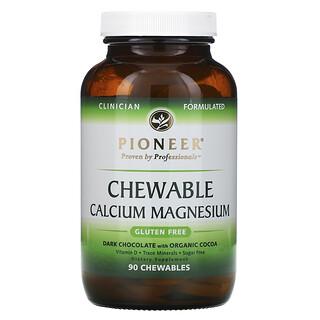 Pioneer Nutritional Formulas, مغنيسيوم وكالسيوم قابل للمضغ ، شوكولاتة داكنة مع كاكاو عضوي، 90 قطعة قابلة للمضغ