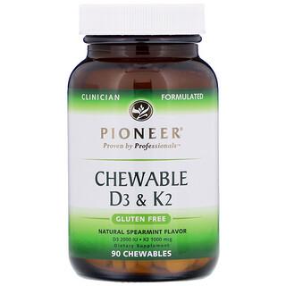 Pioneer Nutritional Formulas, أقراص فيتامين د3 وك2، نعناع طبيعي، 90 قرص قابل للمضغ