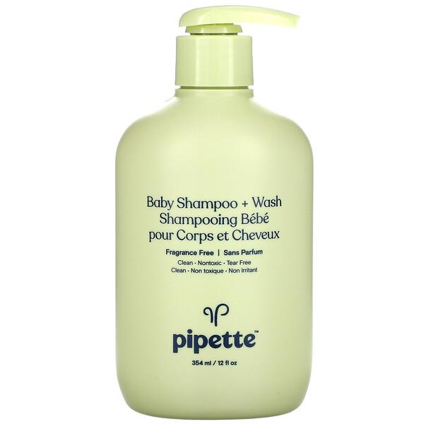 Pipette, Baby Shampoo + Wash, Fragrance Free, 12 fl oz, (354 ml) (Discontinued Item)