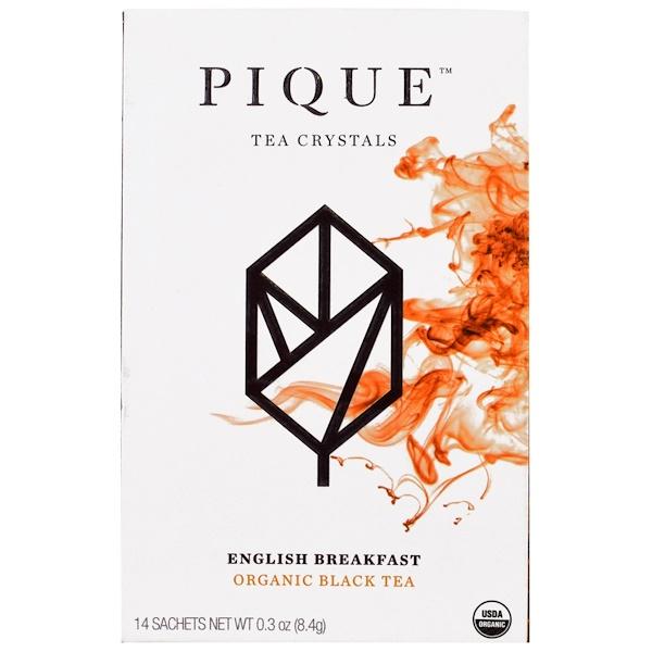 Pique Tea, English Breakfast, Organic Black Tea, 14 Sachets, 0.3 oz (8.4 g) (Discontinued Item)