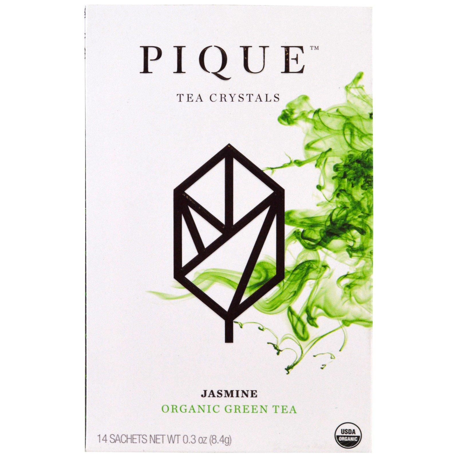 Pique Tea, Жасмин, органический зеленый чай, 14 пакетиков, 0,3 унции (8,4 г)
