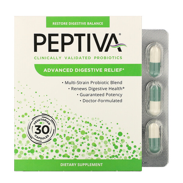 Peptiva, Clinically Validated Probiotics, Advanced Digestive Relief, 30 Vegetarian Capsules