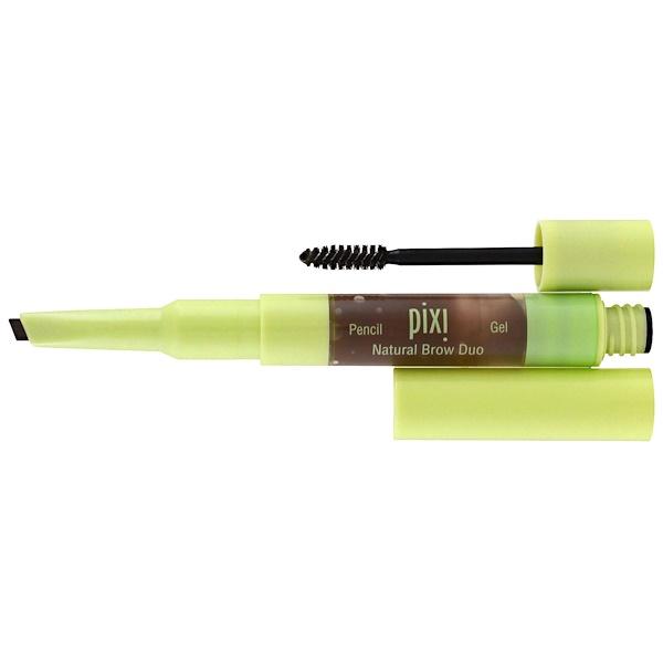 Pixi Beauty, 2-In-1 내추럴 브라우 듀오, 딥 브루네트, 펜슬 0.004 oz (0.12 g), Gel 0.084 fl. oz (2.5 ml)