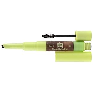 Pixi Beauty, 2-в-1 Натуральный макияж бровей, яркий брюнет, карандаш 0,04 унц. (0,12 г), гель 0,084 ж. унц. (2,5 мл)