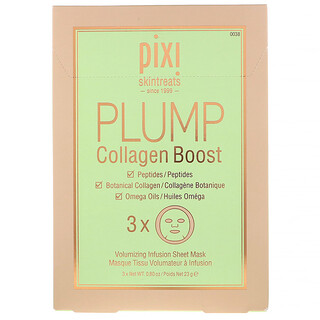 Pixi Beauty, Skintreats, Plump Collagen Boost, Volumizing Infusion Sheet Mask, 3 Sheets