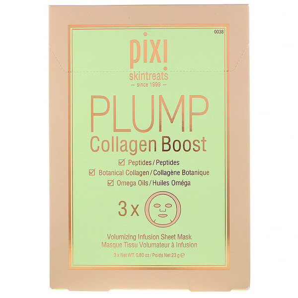 Pixi Beauty, Skintreats, Plump Collagen Boost, Volumizing Infusion Sheet Mask, 3 Sheets, 0.80 oz (23 g) Each