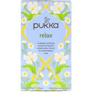 Pukka Herbs, リラックス、カフェインフリー、20ハーブティーバッグ、1.41オンス (40 g)