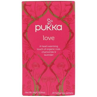 Купить Pukka Herbs Love, Чай с органической розой, ромашкой и лавандой, без кофеина, 20 пакетиков, 0, 8 унции (24 г)