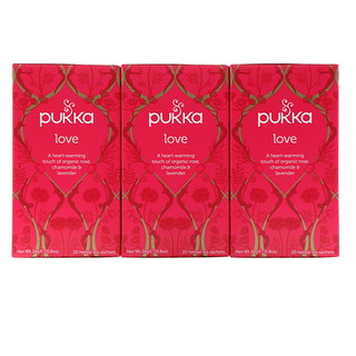 Pukka Herbs, Love, Organic Rose, Chamomile & Lavender Tea, Caffeine Free, 3 Pack, 20 Herbal Tea Sachets Each