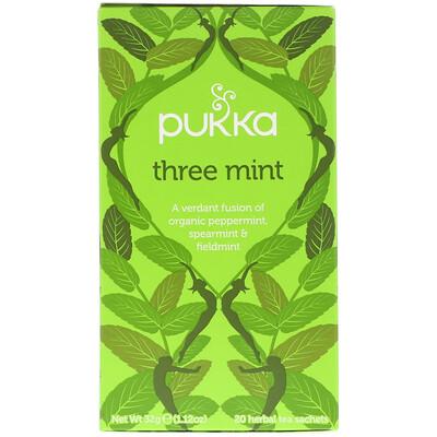 цена на Three Mint, Caffeine Free, 20 Herbal Tea Sachets, 1.12 oz (32 g)