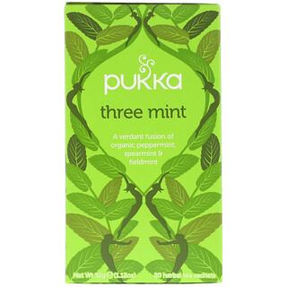 Pukka Herbs, Té de hierbas Tres Mentas, Sin cafeína, 20 Sobres, 32 g (1.12 oz)