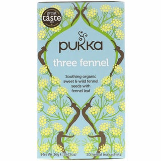 Pukka Herbs, Three Fennel, 20 Herbal Tea Sachets, 1.27 oz (36 g)