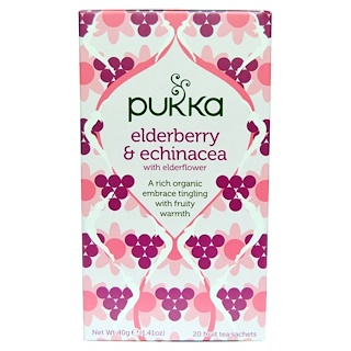 Pukka Herbs, Elderberry & Echinacea, 20 Fruit Tea Sachets, 1.41 oz (40 g) Each