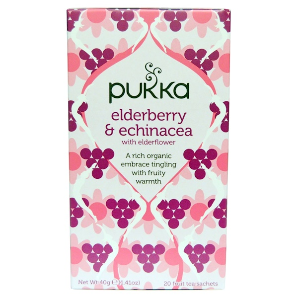 Pukka Herbs, Elderberry & Echinacea, 20 Fruit Tea Sachets, 1.41 oz (40 g) Each