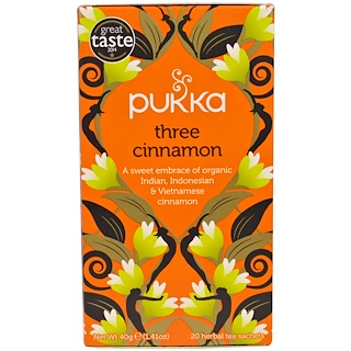 Pukka Herbs, Three Cinnamon Tea, Caffeine Free, 20 Herbal Tea Sachets, 1.41 oz (40 g)