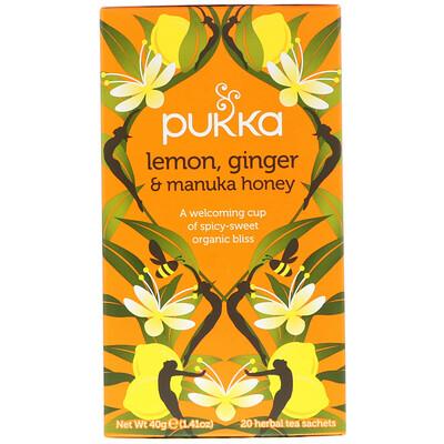 цена на Lemon Ginger & Munka Honey Tea, 20 Herbal Tea Sachets, 0.07 oz (2 g) Each