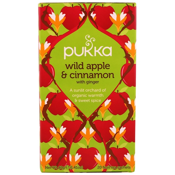Pukka Herbs, Wild Apple & Cinnamon with Ginger, 20 Fruit Tea Sachets, 1.41 oz (40 g)